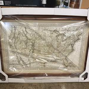 """Lot # 125- Huge Map of the United States from Costco, Never Opened. 38"""" x 50""""."""