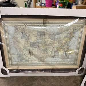 """Lot # 126- Huge Map of the United States from Costco, Never Opened. 38"""" x 50""""."""