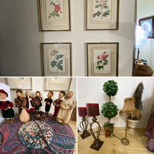 """Lot # 132- Home Decor for you: Framed Art (4) 10""""x13"""", Folk Art Carolers, Stick Lamp, 28"""" Topiary Trees, Candles, Accent Table."""