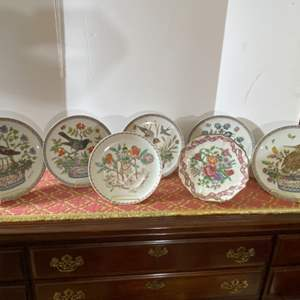 Lot # 133- Limited Edition German Collector Plates and Stands, Fabric Runner.