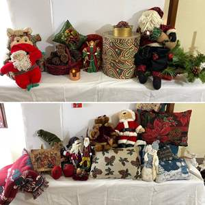 Lot # 135- Christmas Decor Galore, Accent Tapestry Pillows, Blanket Throw.