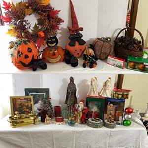Lot # 136- Holiday Harvest, Halloween, and Christmas Decorations, Tins, Candles.