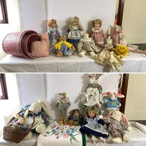 Lot # 137- Collected Dolls, Bunny's, Bears, Kitty's. Large Vintage Floral Terry.