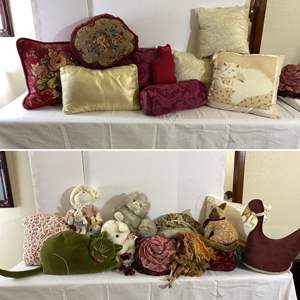 Lot # 138- Accent Pillows of all Shapes and Sizes, Plush, Fairy Doll.