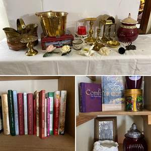 Lot # 139- Brass Buckets & Candle Holders, German Cookie Tin, Lenox and Pier 1 Home Goods, Book Collection and More.