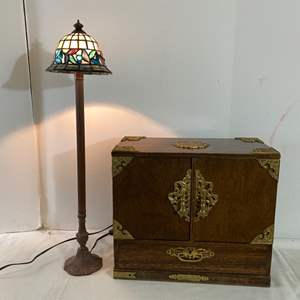 """Lot # 140- Metal Stick Lamp with Stained Glass Shade 25""""h, Vintage Jewelry Box with Brass Accents 15""""x 13h x 8""""d."""