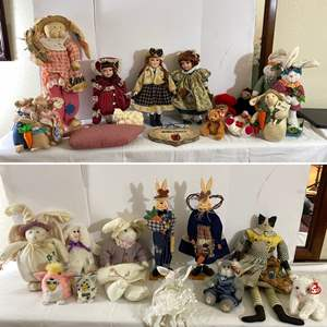Lot # 141- Collection of Dolls, Bunny's, Kitty's, Furby Baby, and More.