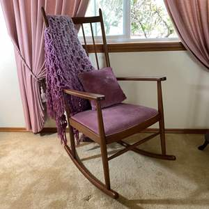 """Lot # 143- Nice Wood Rocking Chair with Upholstered Seat 23""""w x 46""""h, Pillow and Crochet Throw."""