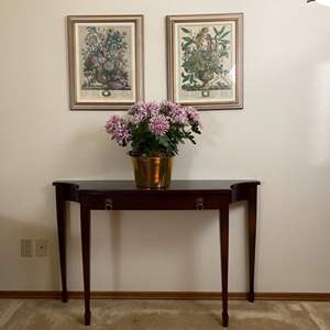 """Lot # 145- Cherrywood Hall Table w/pull out drawer from Bombay Co., Floral in Brass Bucket, Two Framed Pictures 17"""" x 21""""."""
