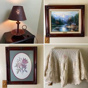 Lot # 152- Vintage Crochet Shawl with Cotton Lining (stain from pink candle), Framed Pictures (Thomas Kinkade w/cert.), Lamp.