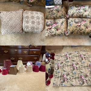 Lot # 153- Queen Cotton Duvet Cover (Still in plastic from the Cleaners), 4 Pillows/Shams (not clean), Accent Pillows, Shades+