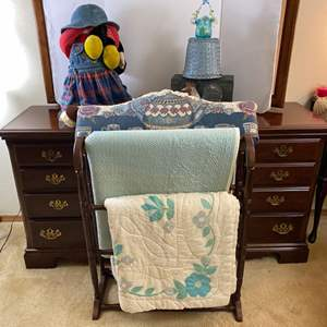 Lot # 154- Free Standing Quilt Rack and Contents, Tapestry Pillow, Rooster Box, Home Decor.