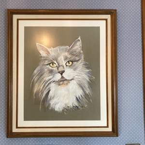 "Lot # 156- Large Framed Kitty Portrait, 25"" x 29""."