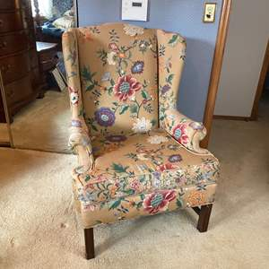 Lot # 157- Vintage Wing Back Chair. Has condition issues, see pics.
