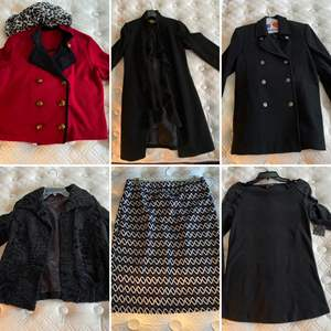 Lot # 160- Designer Coat Jackets, Skirt, Sweater, Scarf. See Pics for Sizes.