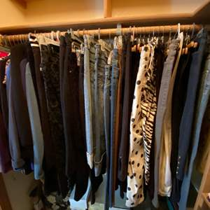 Lot # 161- Womens Wardrobe: Tops, Zipup, Shirts, Jeans, Pants. Quality Designers. 50 + items.