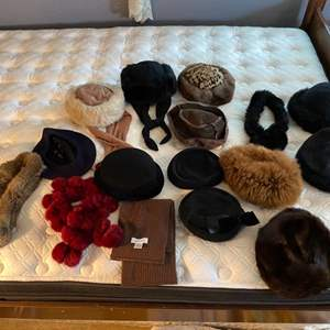 Lot # 163- Vintage Hat Collection, Wool Beret, Pillbox Hats, Genuine Fur Scarfs, Calvin Klein Scarf.