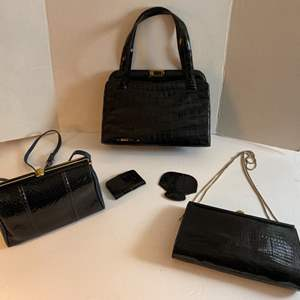 Lot # 168- Eel Skin and Leather Quality Handbags with Coin Purse, Mirror Accessories.