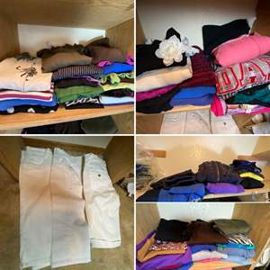 Lot # 174- Knit Tops, Sweaters, Zipups, White Capri Jeans. All Contents of Shelves.