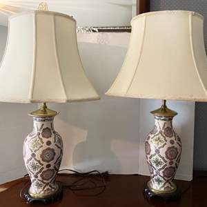 Lot # 176- Beautiful Ceramic Painted Lamps with Brass Accents, (shades are dusty/dirty).