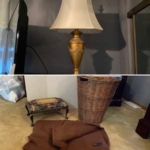 Lot # 182- Cashmere Italian Made Blanket/Throw, Tapestry Foot Stool, Wicker Hamper, Gold Metal Lamp.