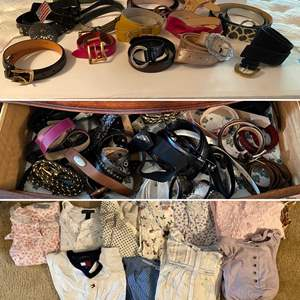Lot # 183- Contents of Dresser Drawers: Huge Assortment of Belts. Nightgowns by Tommy Hilfiger, Ralph Lauren, Passports.