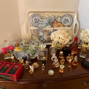 Lot # 185- Wonderful Assortment of Mini Perfume Bottles, A Few Larger, Some Empty/half/full, Florals, Melamine Tray, Soaps.