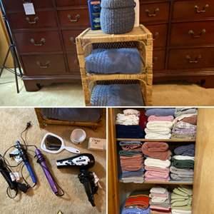 Lot # 187- Beauty Products, Bath Towels, Wicker.