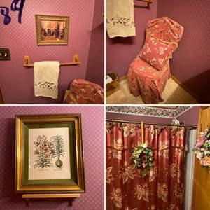 Lot # 189- Vintage Bathroom Decorative Pieces, Chair, Pictures, Shower Curtain, Floral, Etc.