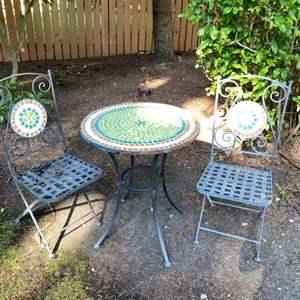 Lot # 193- Cute Mosaic Tile Bistro Set.