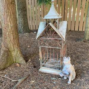 Lot # 195- Garden Accent Metal Birdcage and Terracotta Kitty.