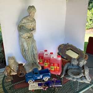 Lot # 198- Resin Garden Statue, Hummingbird Feeder and Supplies, Garden Accents.