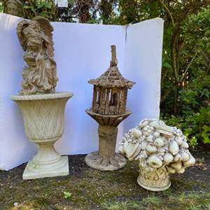 Lot # 200- Composite Angel Statue, Crafted Branch Birdhouse, Resin Planter, Hanging Accent.