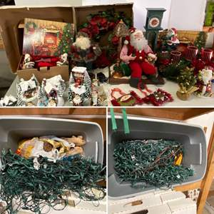 Lot # 202- Two Large Tubs with Christmas Lights, Thomas Kinkade Battery Operated Village, Elec. Movement Santa w/Cassette, More.
