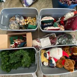 Lot # 203- Four 30 Gal Tubs filled with the Wonder of Christmas Garland, Pillows, Plush and More.