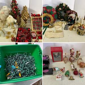 Lot # 204- Christmas Glass Ornaments, Balls, Santa's, Wreaths, 22gal Latch Tote, Christmas Lights, Candles.