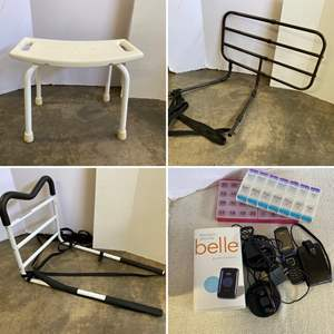 Lot # 212- Medpro Adjustable Senior Bed Safety Rail, Bedside Standing Assist Grab Bar, Chair, Alert Devise, Phone. Pill Organize