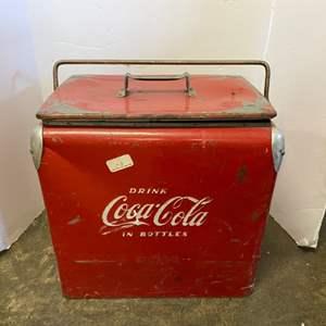 Lot # 214- Vintage Coca Cola Cooler with Bottle Opener, (vintage condition).