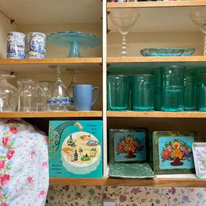 Lot # 218- Aqua Glasses from France, Cake Pedestal, China Tea Cups, Butter dish?, Martini, Vintage Kitchen Tins & Items.