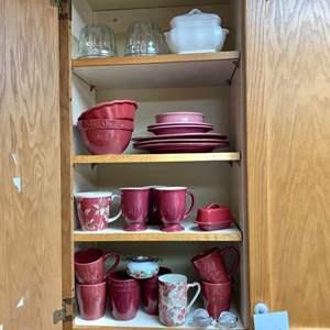 Lot # 219- Stoneware Mugs, Plates, Bowls, Butter dish and More.