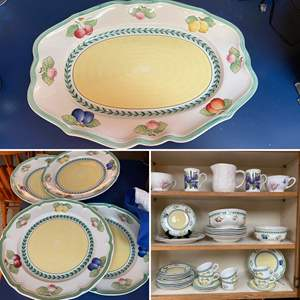 Lot # 220-  Villeroy & Boch French Garden Dishes, Marjolein Bastin Soup Mugs,  Tea Cups, Pitcher.