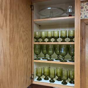 Lot # 221- Vintage Green Glass Stemware, Cake Pedestal, Red Stem Glass.