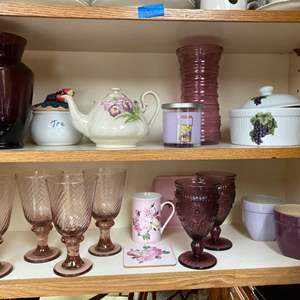 Lot # 222 - Vases, Stemware, Floral Teapot, Tea Cup with Matching Tray and Coaster, Yankee Candle.