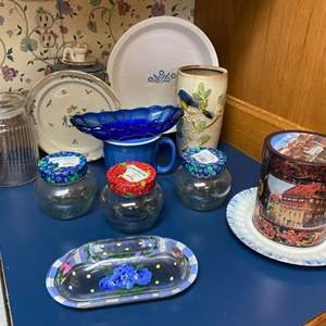 Lot # 223 - Hand Painted Butter Dish, Blue Candy Dish, Cookie Tin, Ceramic Bird Vase, Corning Pie Plate, Jam Jars, and More.