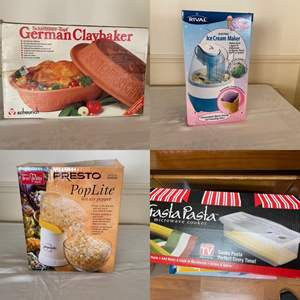 Lot # 225- New In Box: German Clay Baker, Ice-cream Maker and Pasta Maker.  Hot Air Popcorn Popper.