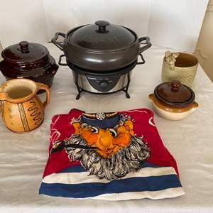 Lot # 227- Rival Removable Crockpot, Ceramic Bean Pots, Ceramic Pig Bowl, Pitcher, Vintage Apron.