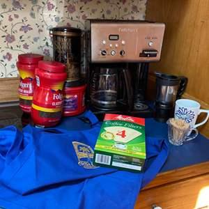 Lot # 228-  Cuisinart CHW-12P1 12-Cup Programmable Coffeemaker with Hot Water System, Folders Coffee (open), Vintage Tin, Apron.