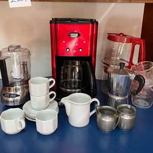 Lot # 229- Cuisinart Mini Prep Food Processor/Grinder, Cuisinart Coffee Maker, Espresso Maker, Demi Cups & Saucers, More.
