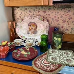 Lot # 230- Fitz & Floyd Fruit Plate, Covered Dish (broken Piece). Apple Bowls, English Teacups w/saucers, Turkey Platter, MORE