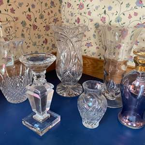Lot # 233- Beautiful Crystal Vases and Candle Holder.